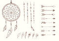 Hand drawn native american feathers, dream catcher, beads and arrows Royalty Free Stock Photo