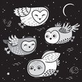 Hand drawn night card with cute little flying owls