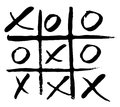 Hand drawn noughts and crosses. vector