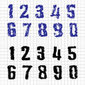 Hand drawn numbers doodles set vector sketch Royalty Free Stock Images