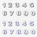 Hand drawn numbers doodles set vector sketch Royalty Free Stock Photos