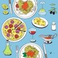 Hand drawn objects on italian food theme: pizza, pasta, tomato, Royalty Free Stock Photo