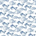 Hand drawn ocean fish abstract pattern vector texture. Royalty Free Stock Photo