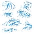 Hand drawn ocean waves. Sketch sea waves tide splash. Hand drawn surfing storm wind water doodle vintage elements