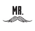 Hand drawn old fashion mustaches illustration. Actual hipster vector. Male barber shop print. Wedding card with text Mr