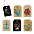 Hand drawn old School Tattoo Tags. Design Elements. Vector Vintage Set. Royalty Free Stock Photo