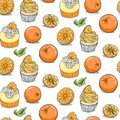 Hand drawn orange cupcake seamless pattern