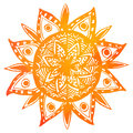 Hand drawn orange watercolor tribal sun. Vector Royalty Free Stock Photo