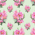 Hand drawn orchid seamless pattern beautiful pencilled pink Stock Photography
