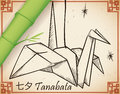 Hand Drawn Origami Crane and Bamboo Branch for Tanabata Festival, Vector Illustration