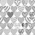 Hand drawn ornamental heart with love in doodle, zentangle tribal style, seamless pattern for adult coloring pages, card for St.