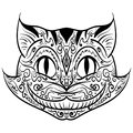 Hand drawn outline doodle cat head zentangle Royalty Free Stock Photo