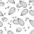 Hand drawn outline seamless pattern with almond. Black and white food background