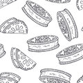 Hand drawn outline seamless pattern with cookie. Black and white food background
