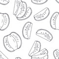 Hand drawn outline seamless pattern with kiwi. Black and white food background