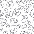 Hand drawn outline seamless pattern with marshmallow. Black and white food background