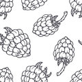 Hand drawn outline seamless pattern with raspberry. Black and white food background