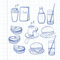 Hand drawn outlines of food a variety and beverages on white square ruled paper including coffee tea soda burger and sandwiches Stock Photo