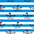 Hand drawn paper ships on the white and blue background seamless vector pattern