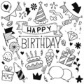 06-19-001 hand drawn party doodle happy birthday Ornaments background pattern Vector illustration