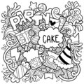 06-19-003 hand drawn party doodle happy birthday Ornaments background pattern Vector illustration Royalty Free Stock Photo