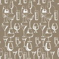 Hand drawn pattern of alcohol drinks and cocktails. Vector illustration
