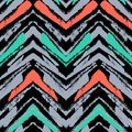 Hand drawn pattern with brushed zigzag line. Royalty Free Stock Photo