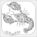 Hand drawn pattern for coloring book zodiac Cancer. Royalty Free Stock Photo
