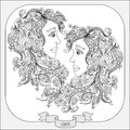 Hand drawn pattern for coloring book zodiac Gemini Royalty Free Stock Photo