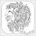 Hand drawn pattern for coloring book zodiac Leo. Royalty Free Stock Photo