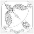 Hand drawn pattern for coloring book zodiac Sagittarius.