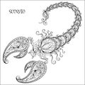 Hand drawn pattern for coloring book zodiac Scorpio. Royalty Free Stock Photo