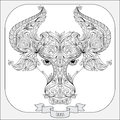 Hand drawn pattern for coloring book zodiac Taurus Royalty Free Stock Photo