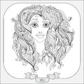 Hand drawn pattern for coloring book zodiac Virgo. Royalty Free Stock Photo