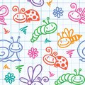 Hand drawn pattern with insects Royalty Free Stock Photography