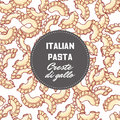 Hand drawn pattern with pasta creste di gallo. Background for food package design