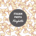 Hand drawn pattern with pasta farfalle. Background for food package design