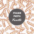 Hand drawn pattern with pasta Fusilli. Background for food package design