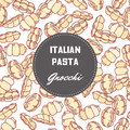 Hand drawn pattern with pasta gnocchi. Background for food package design