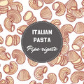 Hand drawn pattern with pasta pipe rigate. Background for food package design