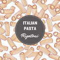 Hand drawn pattern with pasta rigatoni. Background for food package design