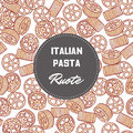 Hand drawn pattern with pasta rotelle or ruote. Background for food package design