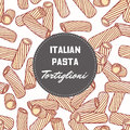 Hand drawn pattern with pasta tortiglioni - tortellini. Background for food package design