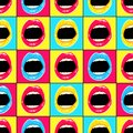 Hand drawn pattern in style pop art with colorful lips and teeth