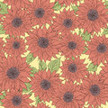 Hand drawn pattern sunflowers background. Flower pink, green. Packaging products Royalty Free Stock Photo