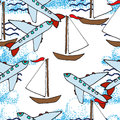 Hand drawn pattern. Yachts and airplanes.