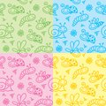 Hand drawn patterns with insects Stock Photography
