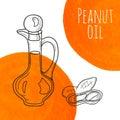 Hand drawn peanut oil bottle with orange watercolor spots