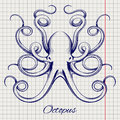 Hand drawn pen sketch octopus