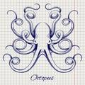 Hand drawn pen sketch octopus